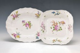 two serving bowls, Vienna, around 1760/70, Ozier-edges, opulent polychrome painting of large