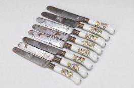 8 knives with porcelain handles, probably England, around 1780, polychrome bird decor, songbirds and