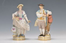 pair of figurines, Meissen, around 1890, female gardener with flowers in basket and small bouquet,