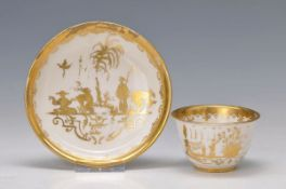 beaker with saucer, Meissen, around 1725, quality full representation of so-called Augsburger gold