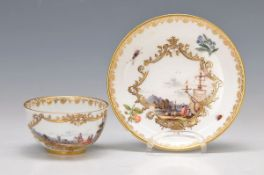 cup with saucer, Meissen, around 1740, sea scores, quality full polychrome, painting, in larger