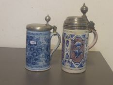 two jugs, Southern Germany, 18. th c., 1 probably Bayreuth, reddish clay with white glaze, blue