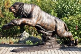 Monumental Attacking Tiger, bronze, tawny, brown and anthracite patinated, muscle well shown,