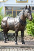 Pit Horse, bronze, brown patinated, strong, detailed molding, good heavy quality, slight traces of