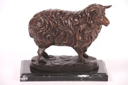 Sheep, bronze, brown / dark brown patinated, fur structure well reproduced, on black marblebase,