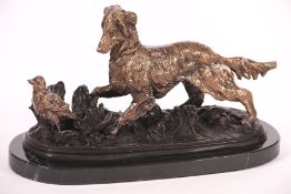Hunting dog, bronze, on marble base, patinatedbrown, detailed elaboration, slight traces of storage,