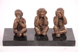 """3 monkeys, """"Do not hear, do not see, do not speak"""", bronze, patinated golden brown, on black"""