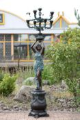 Light Bringer, based on an antique model, 2 pieces, bronze, green and brown patinated, figure is