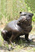English Bulldog, bronze, patinated brown, idealistic-bizarre representation, oriented tothe right,