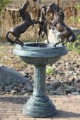 Horse fountain, bronze, turquoise, brown and golden brown patinated, fountain bowl and column