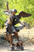 Archangel Michael as a conqueror of Satan, bronze, in different shades of brown and anthracite