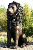 Monumental Lion, bronze, brown patinated, aligned frontally, tail to the left, majestic charisma,