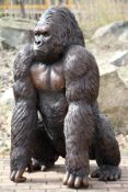 Gorilla, bronze, dark brown and golden brown patinated, excellent detailed elaboration, vivid