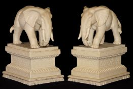2 Elephants on pedestal, 4 parts, white art casting, weather-resistant, idealistic depiction of