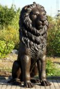 Monumental Lion, bronze, brown patinated, aligned frontally, tail to the right, majesticcharisma,