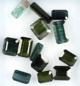 Lot 13 loose bevelled tourmalines , total 25.67 ct, rectangle in different sizes Valuation Price: