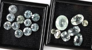 Lot aquamarines: 1 x 10 kalibr. round bevelled aquamarines, total 9.43 ct; 1 x 8 bevelled