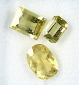 Lot 3 loose bevelled yellow apatites total 13.25 ct, in different cuts Valuation Price: 480, -
