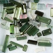 Lot loose bevelled tourmalines, total 31.18 ct, in different colours and sizes, predominant baguette