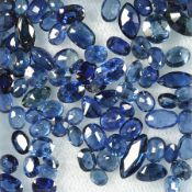 Lot loose bevelled sapphires , total 21.25 ct, in different colour shades, sizes and shapes