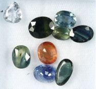 Lot 9 loose bevelled sapphires , total 15.83ct, in different colours, shapes and sizes Valuation