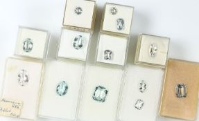 Lot 12 loose aquamarines total approx. 49 ct, different shapes, sizes and colours Valuation Price: