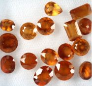 Lot loose bevelled mandarin garners , total 20.22 ct, in different shapes Valuation Price: 2000, -