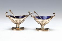 pair of bowls for spices, probably Italy, after English model, 800 silver, blue glass inserts,
