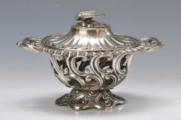decorative vessel, France, around 1860, 900 silver, in breakthrough work, lid coronation in shape