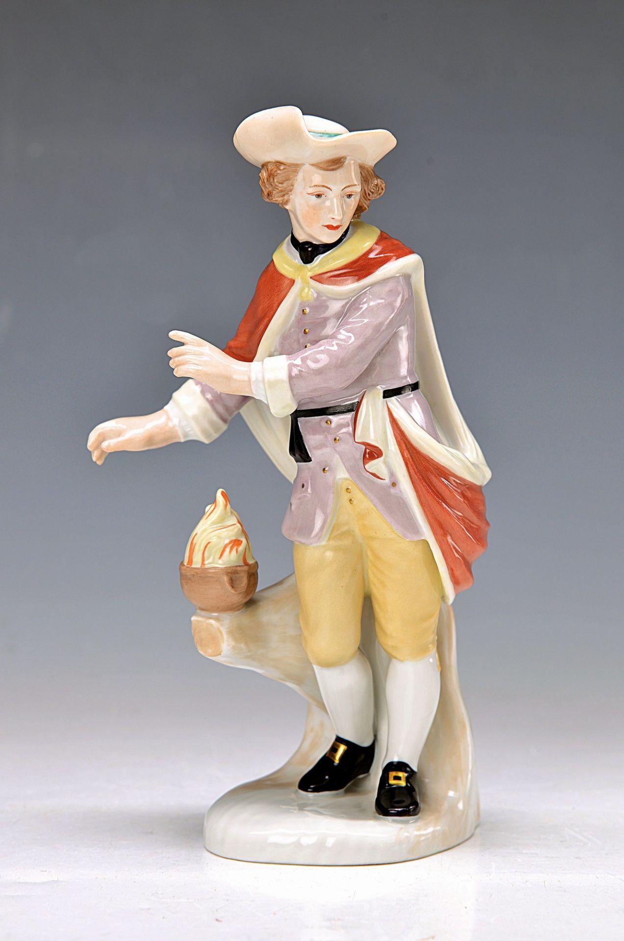 "figurine, Fürstenberg, 20th c., allegory on the Winter, on base brand mark and inscription: ""Winter"""