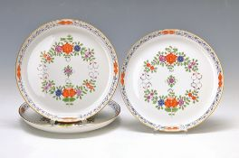 3 wall plates, Meissen, 2. H. 20. th c., porcelain, Indian painting in colorful, gold heightened,