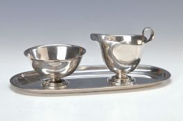 sugar- and creamer set, Wilkens, 1930s, 835 silver, oval tray, sugar bowl, creamer, stepped Art-
