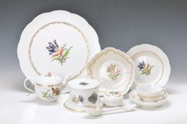 coffee set for 6 people, Meissen, 20th c., decor Marcolini-Tulip with Ozier-embossment and gold lace