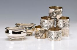 2 salt vessels and 6 napkings, vessels 925 Sterling silver, Birmingham, around 1920, on each 4
