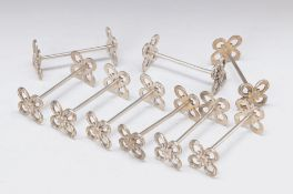 9 Knife rests, France, around 1900, silver plated metal, marked: Derby, sides with fine wreath