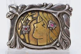 silver brooch, German, around 1900-05, 925 silver, floral painting in silver, allusion on odour,