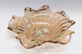 pompous bowl, E. Gallé Nancy, around 1890-95, smoke coloured glass, fivefold extended and stepped