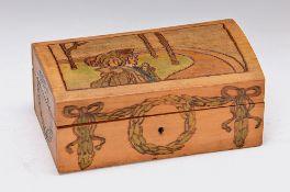 small wooden box, J. H. Vogeler, Worpsweder Werkstätten, around 1910, colorful abstract poker