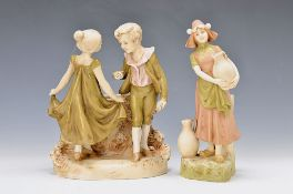 two figurines, Royal Dux, around 1900/10, vase with figure crest, dancing couple of children,