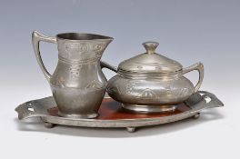 sugar- and milk set on tray, Gerhardi, designed by Albert Reimann, Berlin, Model 1810, tray with