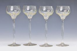 7 Art Nouveau glasses, around 1910, colorless glass with green naps, H.approx. 21 cm, 2x minor on