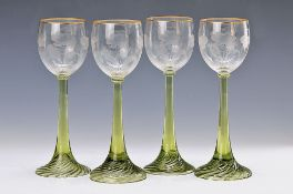 6 Romans, Art Nouveau, around 1910, colorless cuppa, green stems, gold edges, H.approx. 20.5cm ,