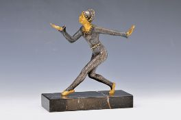 Sculpture, France, 20th c., Bronze silver plated and gilt, female dancer, marble pedestal, approx.