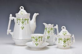 coffee set, German, around 1900, porcelain, green lithographed Art nouveau decoration withshamrocks,