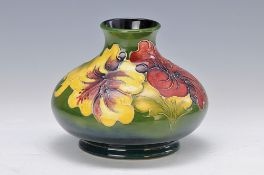 vase, Moorcraft, around 1900-10, thin walled earthenware with embossed floral floral decor,bottom