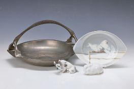 3 figurines and one tin bowl, Art Nouveau, around 1900-1930, rabbit, Thomas, Bavaria, L.8.5 cm;