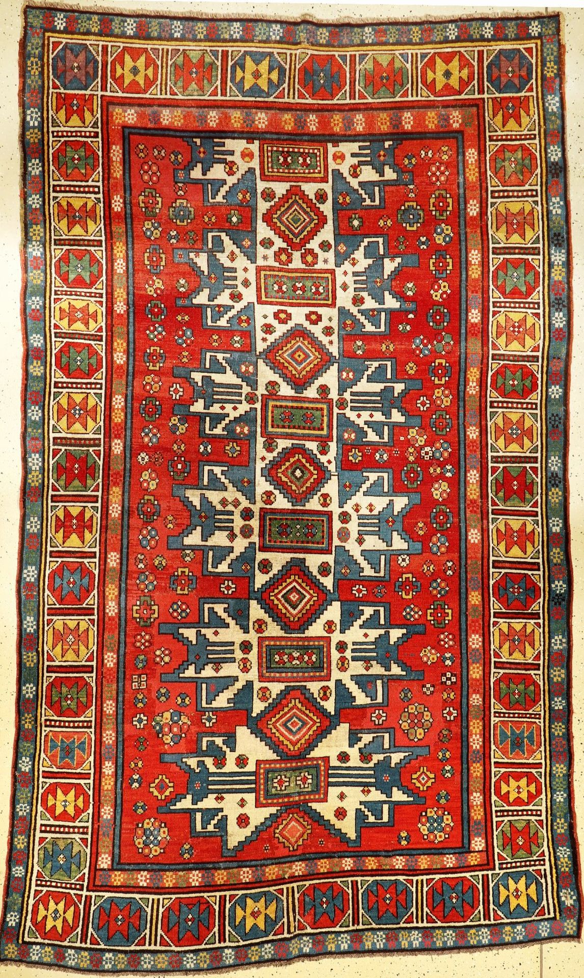 Large antique kazak, Caucasus, Lesghi stars, 19th century, wool on wool, approx. 300 x 180 cm, rare,