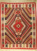 Sharkoy Kilim old, Europe, around 1940, wool on wool, approx. 226 x 180 cm, decorative, condition: