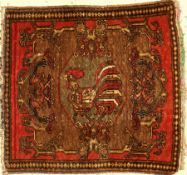 Rare Chicken Pushti antique, West Persia, around 1900, wool on cotton, approx. 57 x 53 cm,