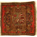 Rare Chicken Pushti antique, West Persia, around 1900, wool on cotton, approx. 57 x 53 cm,